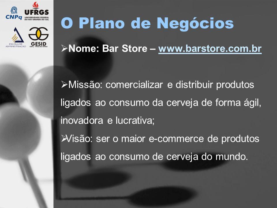 O Plano de Negócios Nome: Bar Store – www.barstore.com.brwww.barstore.com.br Missão: comercializar e distribuir produtos ligados ao consumo da cerveja