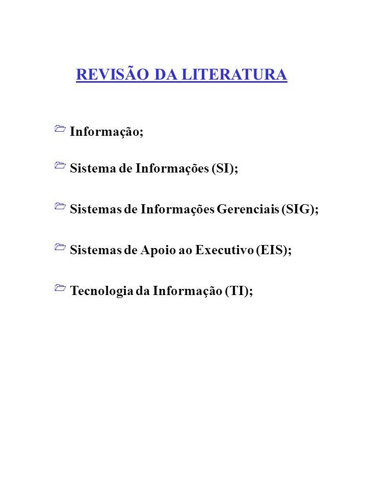 Sistema de Informações (SI); Sistemas de Informações Gerenciais (SIG); Informação; Sistemas de Apoio ao Executivo (EIS); Tecnologia da Informação (TI)