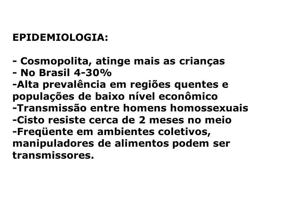 EPIDEMIOLOGIA: - Cosmopolita, atinge mais as crianças - No Brasil 4-30% -Alta prevalência em regiões quentes e populações de baixo nível econômico -Tr