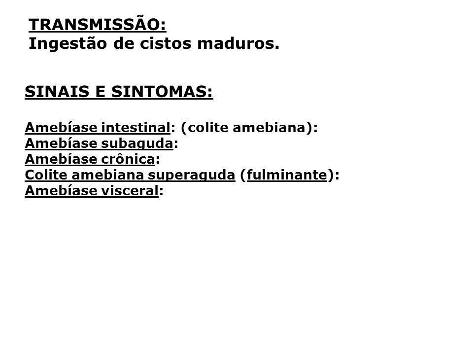 TRANSMISSÃO: Ingestão de cistos maduros. SINAIS E SINTOMAS: Amebíase intestinal: (colite amebiana): Amebíase subaguda: Amebíase crônica: Colite amebia