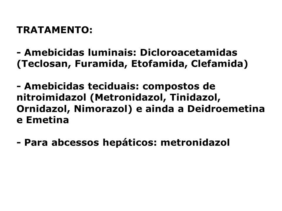 TRATAMENTO: - Amebicidas luminais: Dicloroacetamidas (Teclosan, Furamida, Etofamida, Clefamida) - Amebicidas teciduais: compostos de nitroimidazol (Me