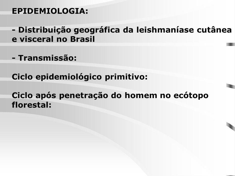 EPIDEMIOLOGIA: - Distribuição geográfica da leishmaníase cutânea e visceral no Brasil - Transmissão: Ciclo epidemiológico primitivo: Ciclo após penetr