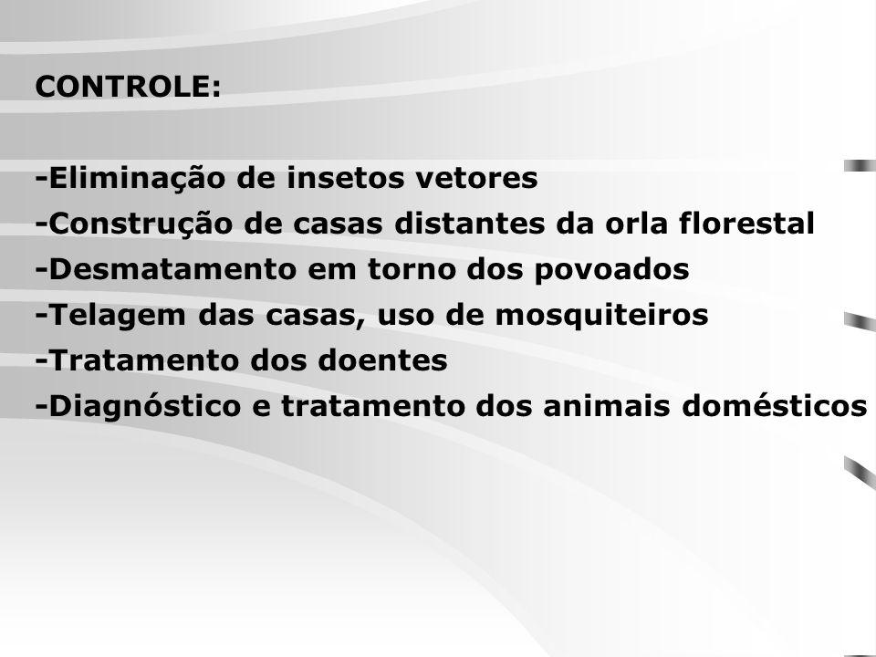 CONTROLE: -Eliminação de insetos vetores -Construção de casas distantes da orla florestal -Desmatamento em torno dos povoados -Telagem das casas, uso