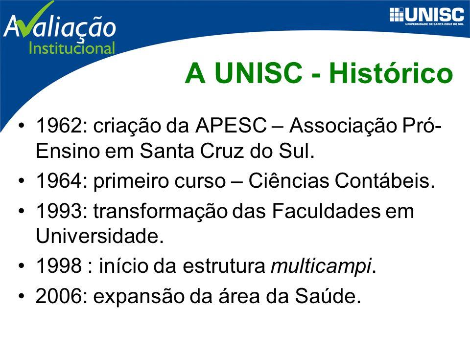 A UNISC - Números 46 cursos de Graduação; 47 cursos de especialização; e 5 programas de pós-graduação.