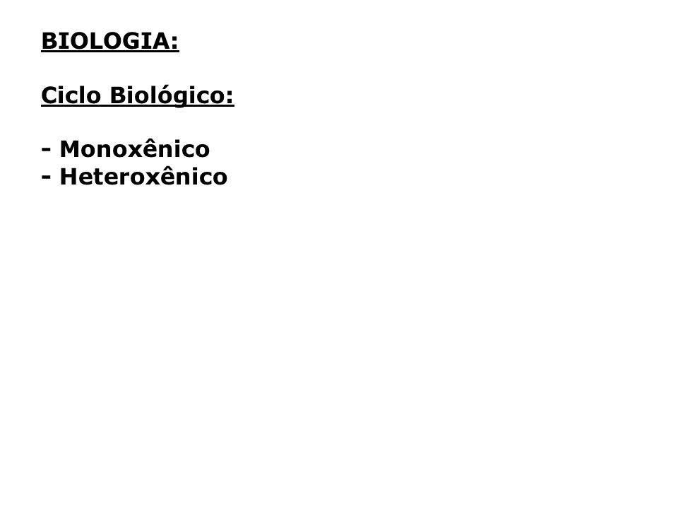 BIOLOGIA: Ciclo Biológico: - Monoxênico - Heteroxênico