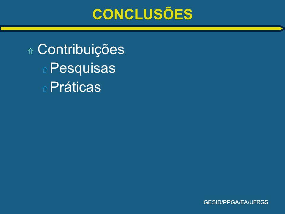 GESID/PPGA/EA/UFRGS CONCLUSÕES ñ Contribuições ñ Pesquisas ñ Práticas