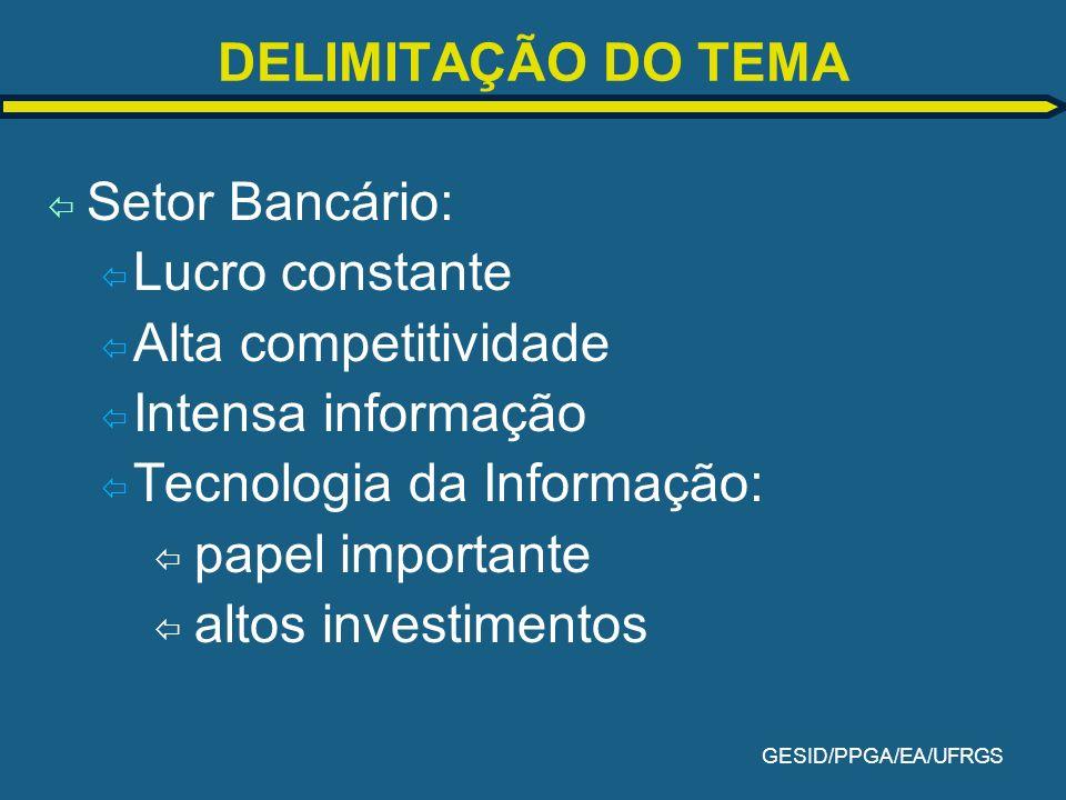 GESID/PPGA/EA/UFRGS QUESTÃO DE PESQUISA ï Os bancos são apontados como os maiores investidores em tecnologias da informação, utilizadas na prestação de de serviços e venda de produtos.