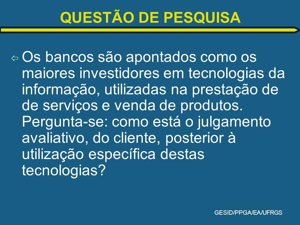 GESID/PPGA/EA/UFRGS Fatores identificados DOCUMENTO FINAL 6 Fatores FATORES NOMES Fator 1 Fator 2 Fator 3 Fator 4 Fator 5 Fator 6 Processamento de Transações (Stair, 1998) Comunicação com Clientes (Kotler, 1998) Postos de auto-atendimento (Costa, 1996; Jaci, 1996 e Febraban, 1993) Segurança (Ferreira, 1999; Laudon & Laudon, 1999 e Jaci, 1996) Atendimento nas Centrais Telefônicas (Laudon & Laudon, 1999 e Kotler, 1998) Erros Relacionados a Computadores (Stair, 1998) DOCUMENTO FINAL 37 indicadores Excluídos 2 indicadores