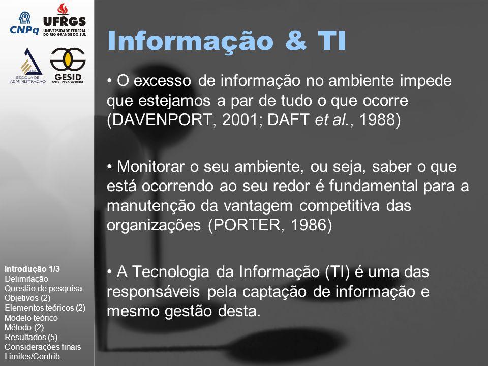 Informação & TI O excesso de informação no ambiente impede que estejamos a par de tudo o que ocorre (DAVENPORT, 2001; DAFT et al., 1988) Monitorar o s