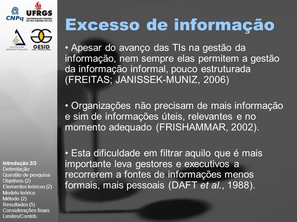 Excesso de informação Apesar do avanço das TIs na gestão da informação, nem sempre elas permitem a gestão da informação informal, pouco estruturada (F
