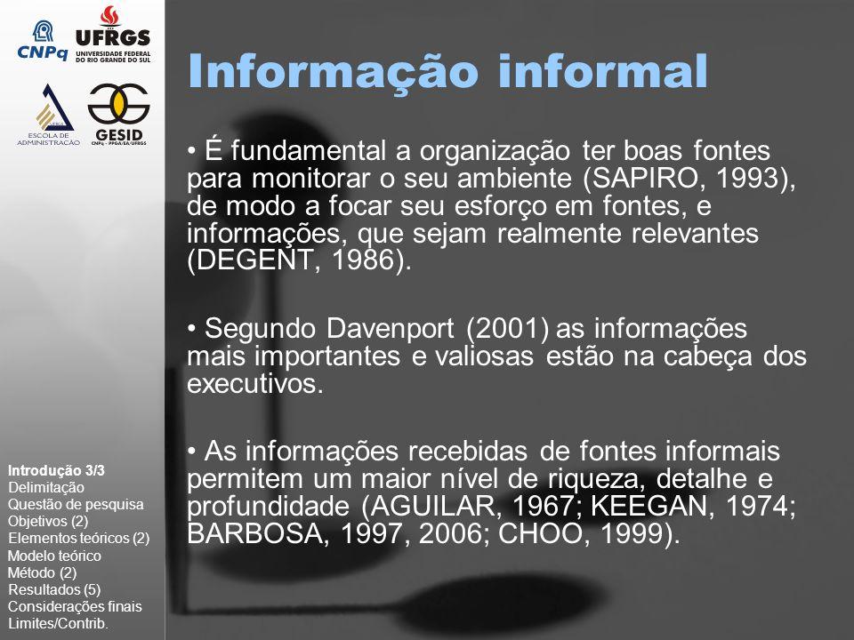Informação informal É fundamental a organização ter boas fontes para monitorar o seu ambiente (SAPIRO, 1993), de modo a focar seu esforço em fontes, e