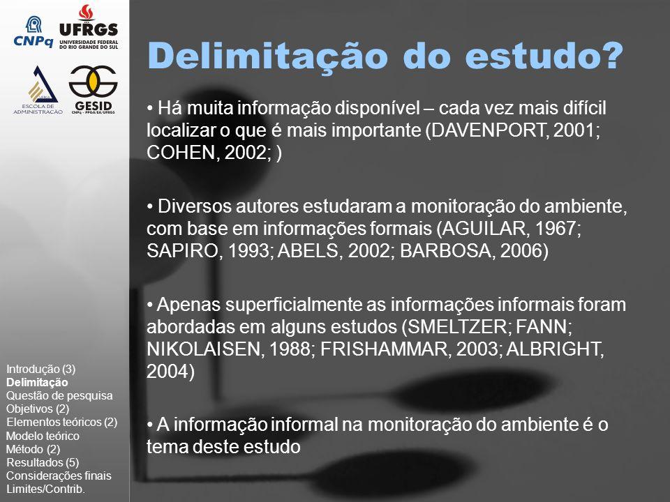 Delimitação do estudo? Há muita informação disponível – cada vez mais difícil localizar o que é mais importante (DAVENPORT, 2001; COHEN, 2002; ) Diver