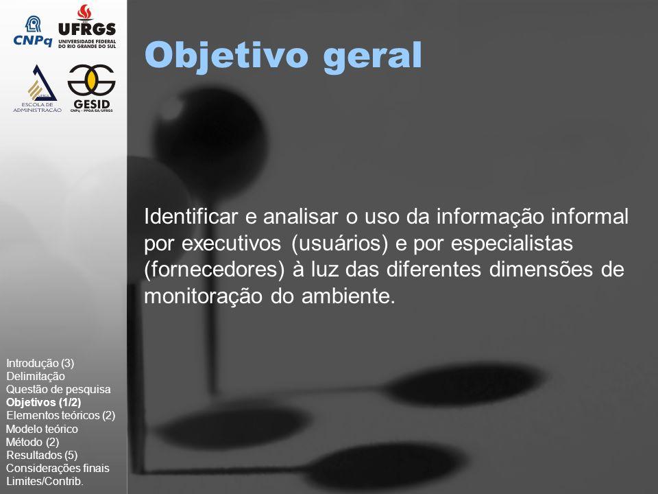 Objetivo geral Identificar e analisar o uso da informação informal por executivos (usuários) e por especialistas (fornecedores) à luz das diferentes d