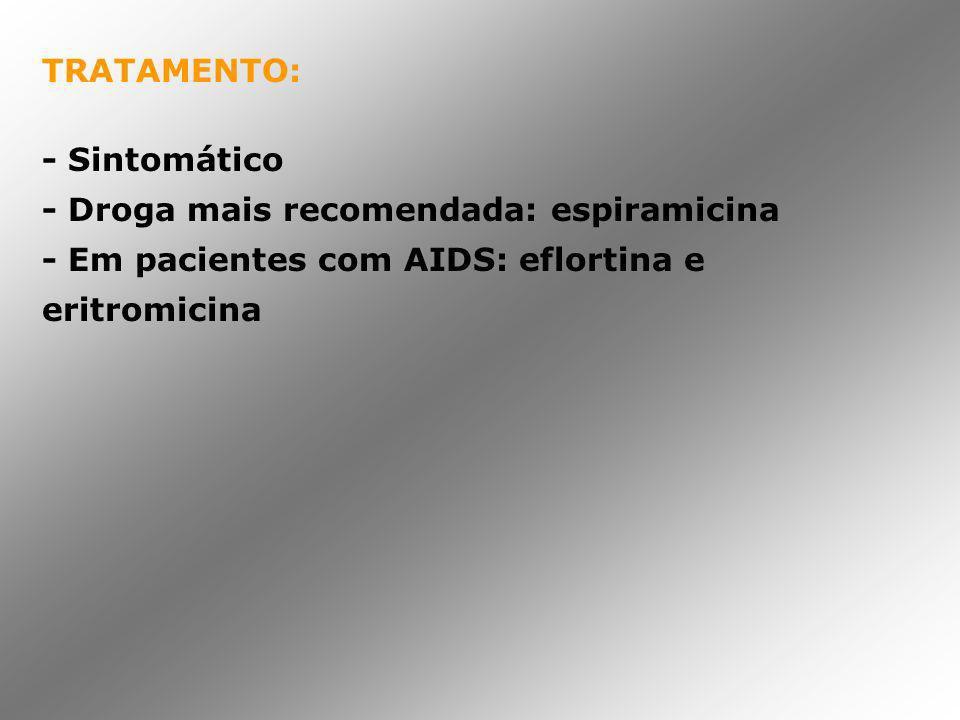 TRATAMENTO: - Sintomático - Droga mais recomendada: espiramicina - Em pacientes com AIDS: eflortina e eritromicina