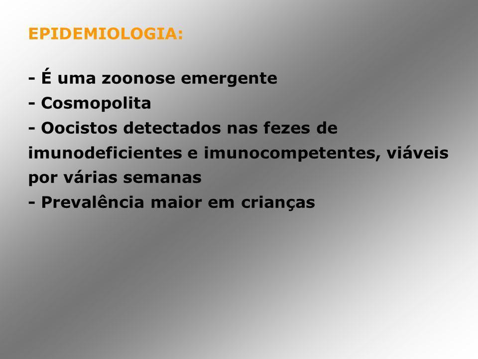 EPIDEMIOLOGIA: - É uma zoonose emergente - Cosmopolita - Oocistos detectados nas fezes de imunodeficientes e imunocompetentes, viáveis por várias sema