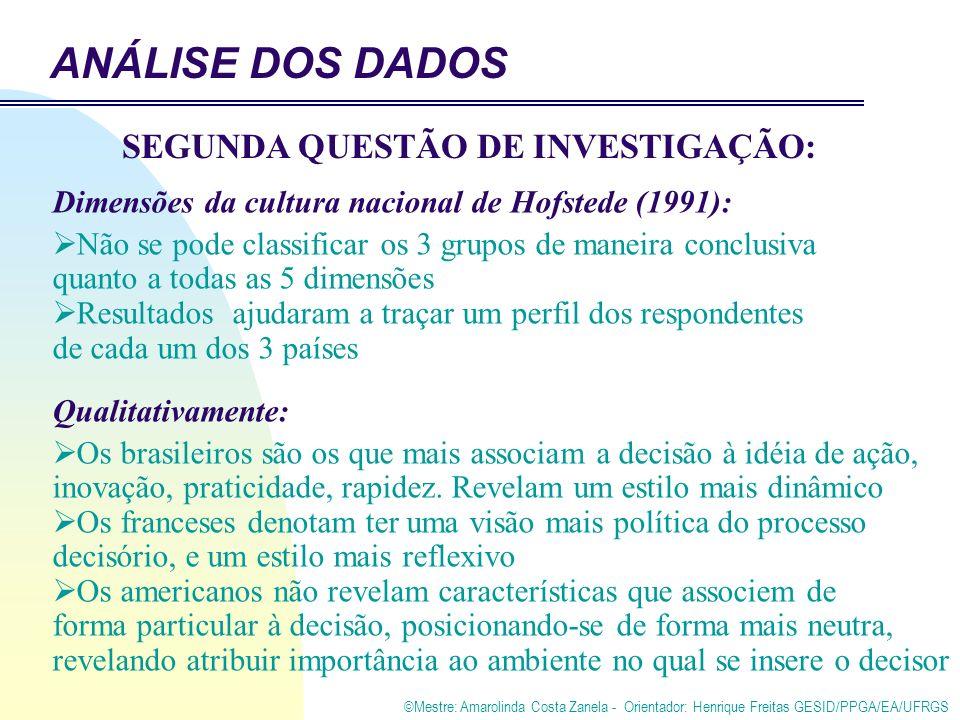 ©Mestre: Amarolinda Costa Zanela - Orientador: Henrique Freitas GESID/PPGA/EA/UFRGS Dimensões da cultura nacional de Hofstede (1991): Não se pode classificar os 3 grupos de maneira conclusiva quanto a todas as 5 dimensões Resultados ajudaram a traçar um perfil dos respondentes de cada um dos 3 países Qualitativamente: Os brasileiros são os que mais associam a decisão à idéia de ação, inovação, praticidade, rapidez.