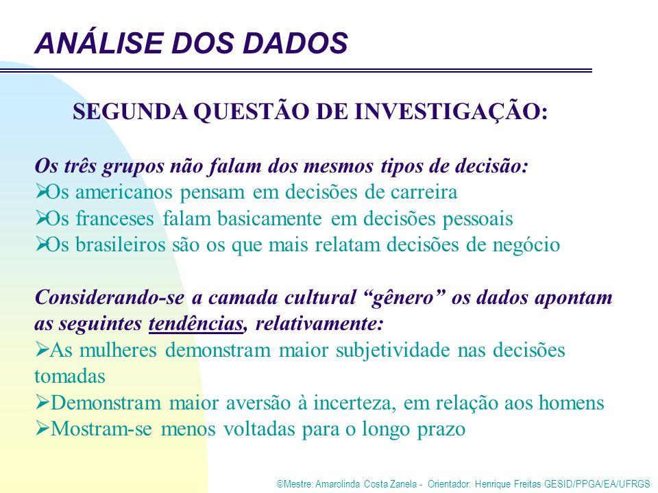 ©Mestre: Amarolinda Costa Zanela - Orientador: Henrique Freitas GESID/PPGA/EA/UFRGS Os três grupos não falam dos mesmos tipos de decisão: Os americanos pensam em decisões de carreira Os franceses falam basicamente em decisões pessoais Os brasileiros são os que mais relatam decisões de negócio Considerando-se a camada cultural gênero os dados apontam as seguintes tendências, relativamente: As mulheres demonstram maior subjetividade nas decisões tomadas Demonstram maior aversão à incerteza, em relação aos homens Mostram-se menos voltadas para o longo prazo SEGUNDA QUESTÃO DE INVESTIGAÇÃO: ANÁLISE DOS DADOS