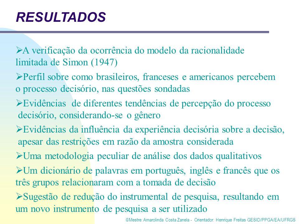 ©Mestre: Amarolinda Costa Zanela - Orientador: Henrique Freitas GESID/PPGA/EA/UFRGS RESULTADOS A verificação da ocorrência do modelo da racionalidade