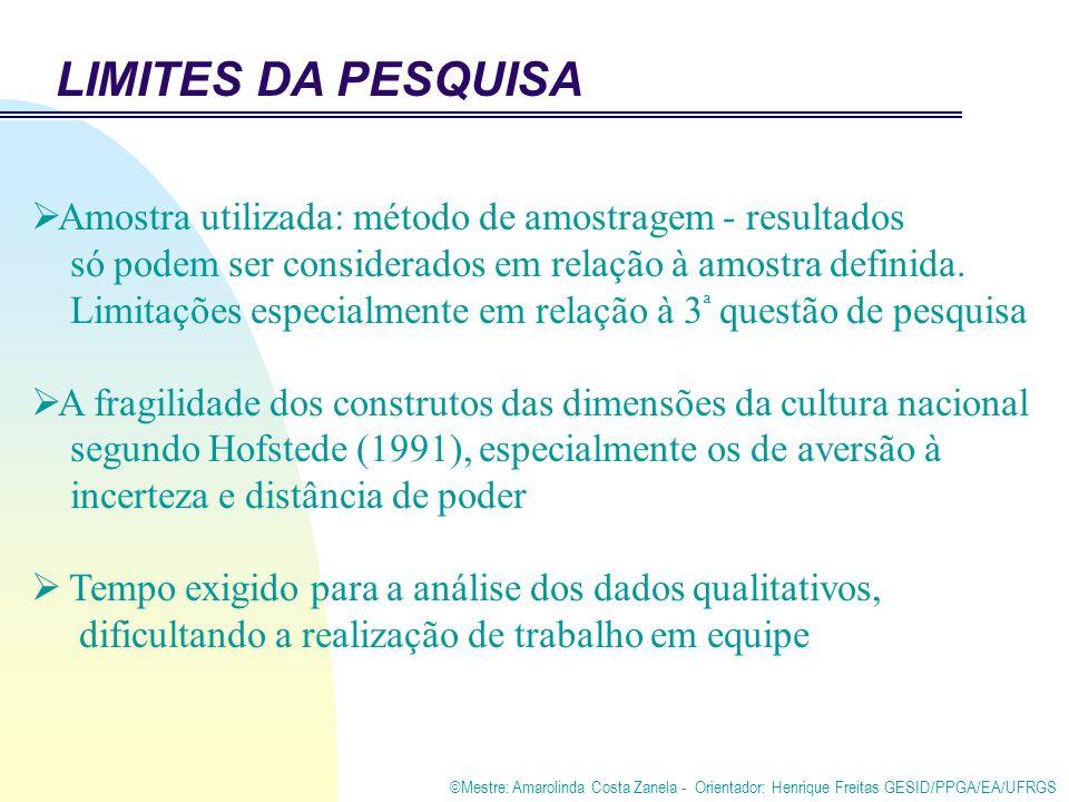 ©Mestre: Amarolinda Costa Zanela - Orientador: Henrique Freitas GESID/PPGA/EA/UFRGS LIMITES DA PESQUISA Amostra utilizada: método de amostragem - resultados só podem ser considerados em relação à amostra definida.
