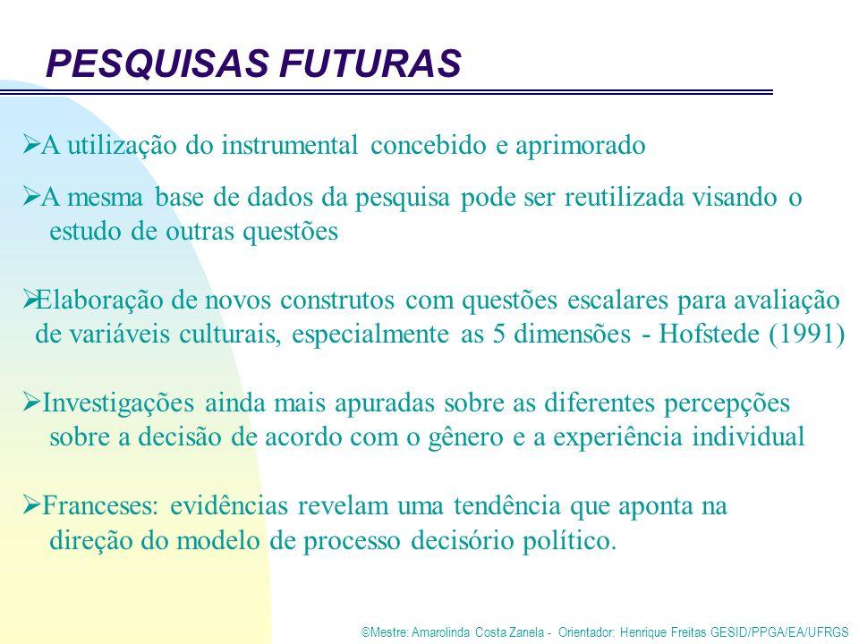 ©Mestre: Amarolinda Costa Zanela - Orientador: Henrique Freitas GESID/PPGA/EA/UFRGS PESQUISAS FUTURAS A utilização do instrumental concebido e aprimor