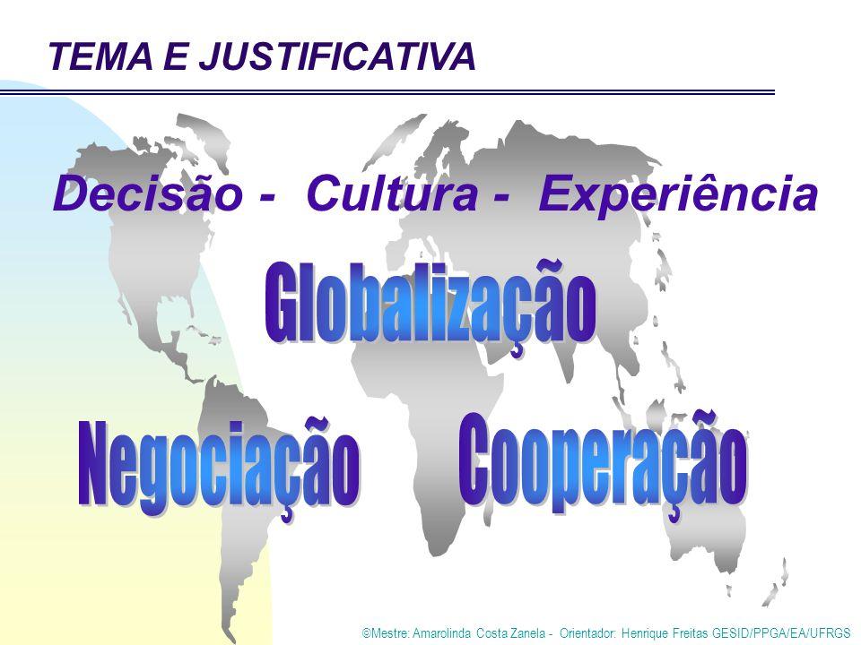 ©Mestre: Amarolinda Costa Zanela - Orientador: Henrique Freitas GESID/PPGA/EA/UFRGS TEMA E JUSTIFICATIVA Decisão - Cultura - Experiência