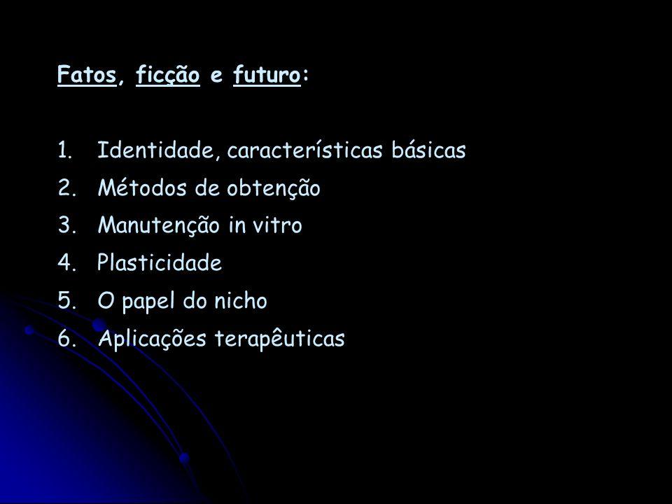 Fatos, ficção e futuro: 1. Identidade, características básicas 2. Métodos de obtenção 3. Manutenção in vitro 4. Plasticidade 5. O papel do nicho 6. Ap