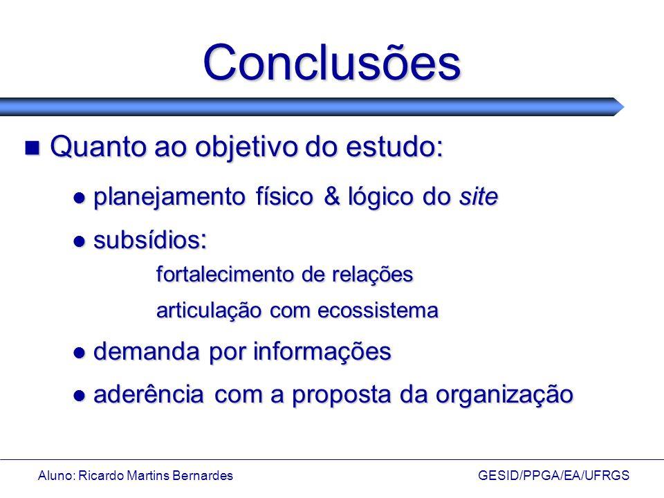 Aluno: Ricardo Martins Bernardes GESID/PPGA/EA/UFRGS Conclusões Quanto ao objetivo do estudo: Quanto ao objetivo do estudo: planejamento físico & lógi