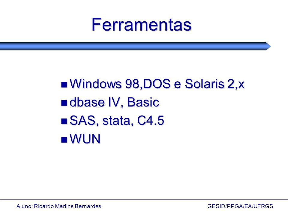 Aluno: Ricardo Martins Bernardes GESID/PPGA/EA/UFRGS Ferramentas Windows 98,DOS e Solaris 2,x Windows 98,DOS e Solaris 2,x dbase IV, Basic dbase IV, B