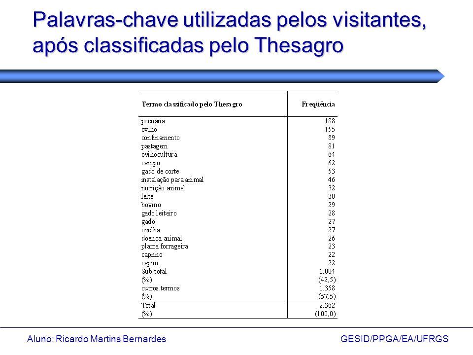 Aluno: Ricardo Martins Bernardes GESID/PPGA/EA/UFRGS Palavras-chave utilizadas pelos visitantes, após classificadas pelo Thesagro