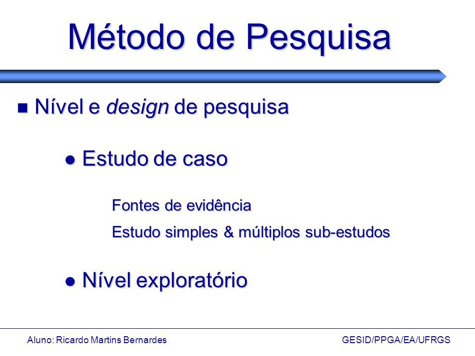 Aluno: Ricardo Martins Bernardes GESID/PPGA/EA/UFRGS Método de Pesquisa Nível e design de pesquisa Nível e design de pesquisa Estudo de caso Estudo de