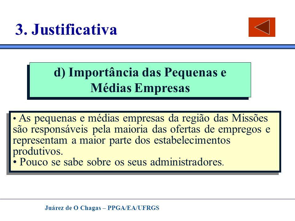 Juárez de O Chagas – PPGA/EA/UFRGS 3. Justificativa d) Importância das Pequenas e Médias Empresas As pequenas e médias empresas da região das Missões
