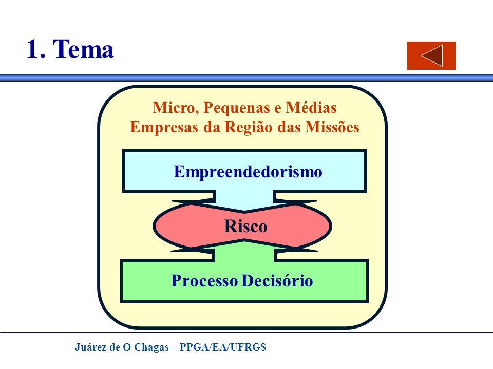 Juárez de O Chagas – PPGA/EA/UFRGS 1. Tema Empreendedorismo Risco Processo Decisório Micro, Pequenas e Médias Empresas da Região das Missões