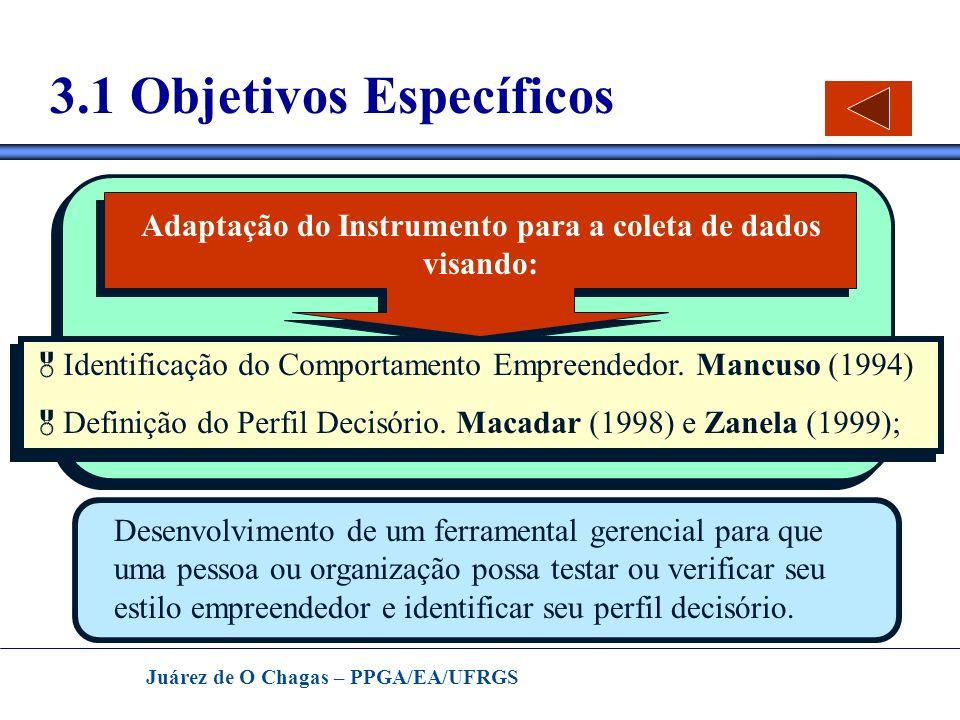 Juárez de O Chagas – PPGA/EA/UFRGS 3.1 Objetivos Específicos Adaptação do Instrumento para a coleta de dados visando: Identificação do Comportamento E