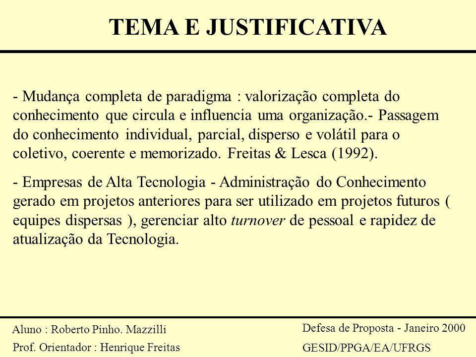 Aluno : Roberto Pinho. Mazzilli Prof. Orientador : Henrique Freitas Defesa de Proposta - Janeiro 2000 GESID/PPGA/EA/UFRGS TEMA E JUSTIFICATIVA - Mudan