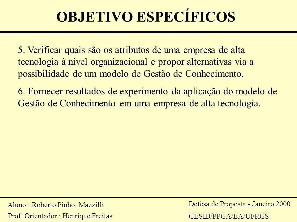 Aluno : Roberto Pinho. Mazzilli Prof. Orientador : Henrique Freitas Defesa de Proposta - Janeiro 2000 GESID/PPGA/EA/UFRGS OBJETIVO ESPECÍFICOS 5. Veri