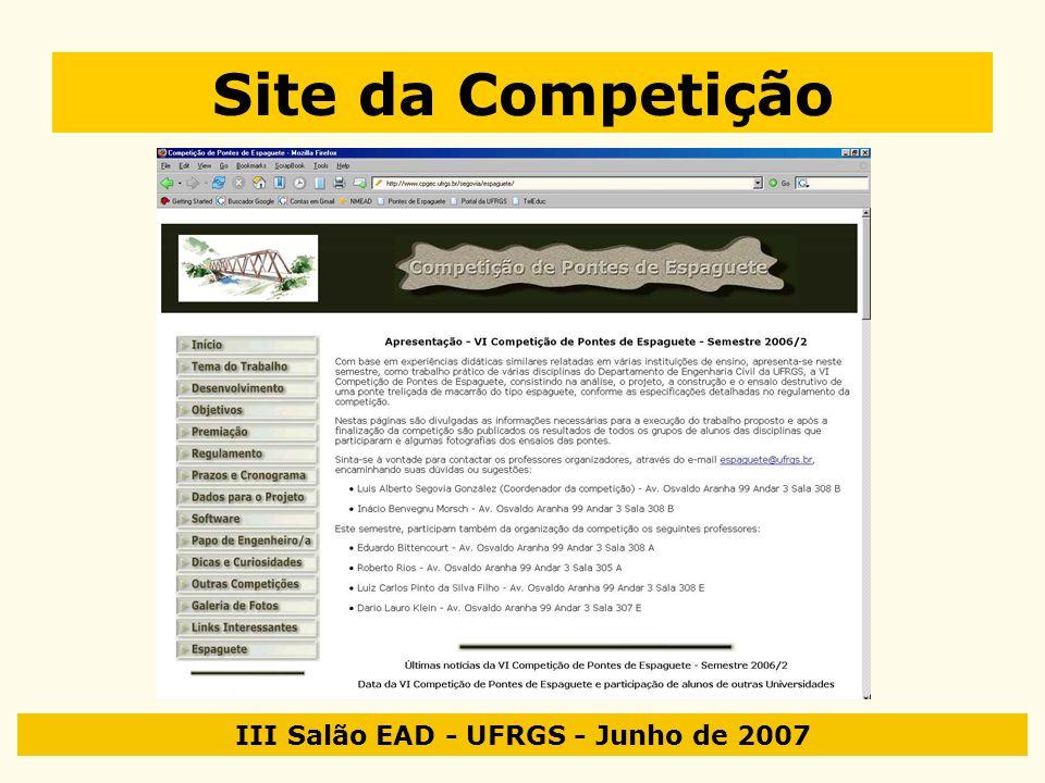 III Salão EAD - UFRGS - Junho de 2007 Site da Competição