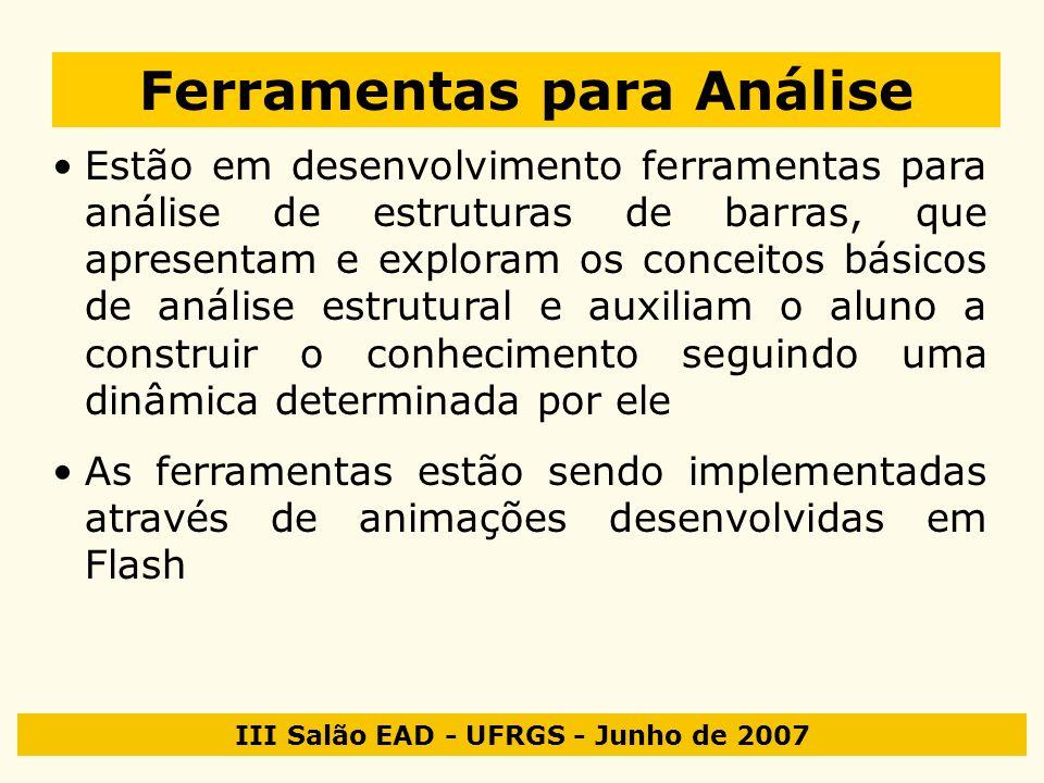 III Salão EAD - UFRGS - Junho de 2007 Ferramentas para Análise Estão em desenvolvimento ferramentas para análise de estruturas de barras, que apresent