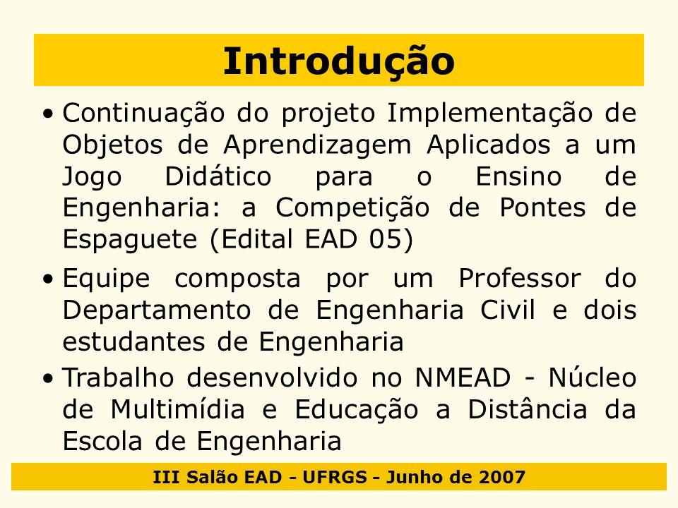 III Salão EAD - UFRGS - Junho de 2007 Introdução Continuação do projeto Implementação de Objetos de Aprendizagem Aplicados a um Jogo Didático para o E