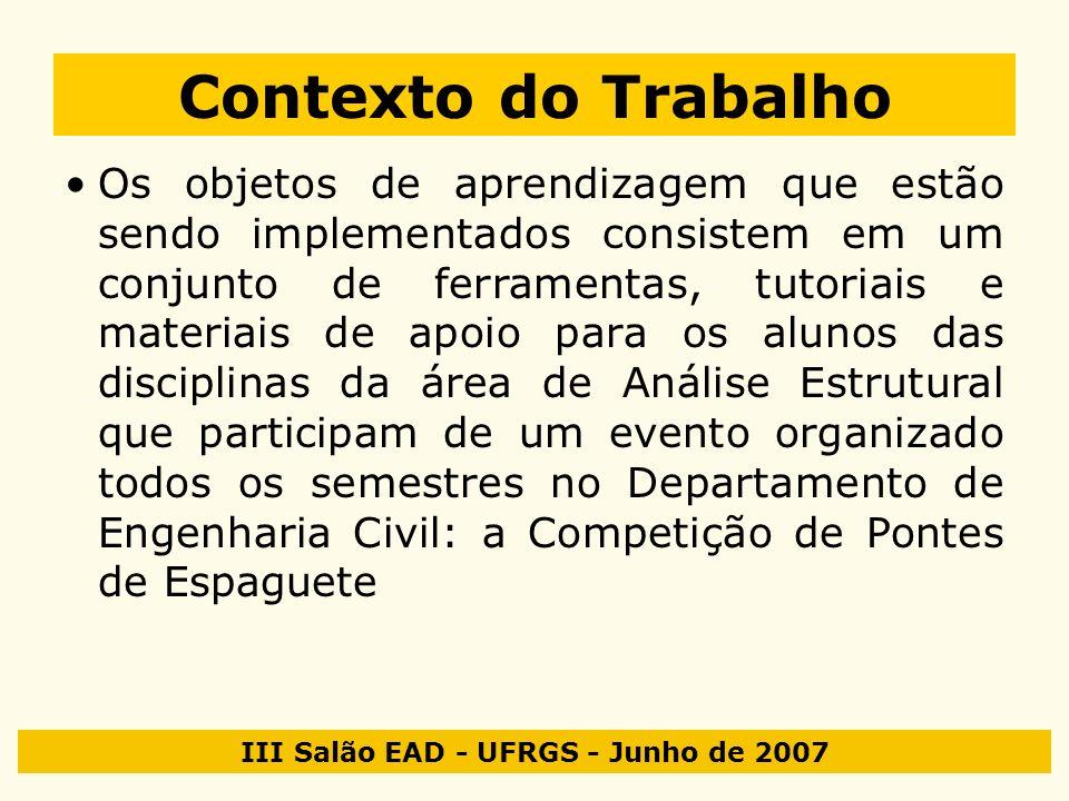 III Salão EAD - UFRGS - Junho de 2007 Contexto do Trabalho Os objetos de aprendizagem que estão sendo implementados consistem em um conjunto de ferram