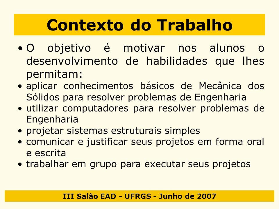 III Salão EAD - UFRGS - Junho de 2007 Contexto do Trabalho O objetivo é motivar nos alunos o desenvolvimento de habilidades que lhes permitam: aplicar