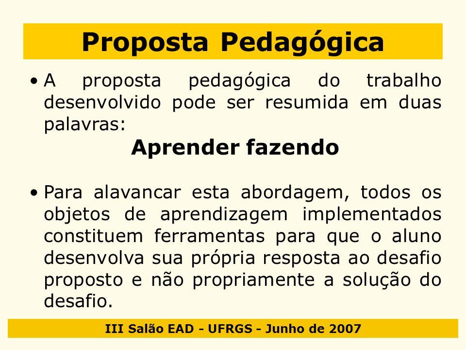 III Salão EAD - UFRGS - Junho de 2007 Proposta Pedagógica A proposta pedagógica do trabalho desenvolvido pode ser resumida em duas palavras: Aprender