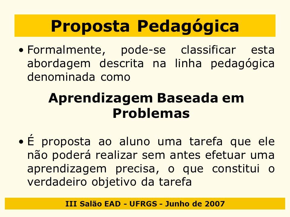 III Salão EAD - UFRGS - Junho de 2007 Proposta Pedagógica Formalmente, pode-se classificar esta abordagem descrita na linha pedagógica denominada como