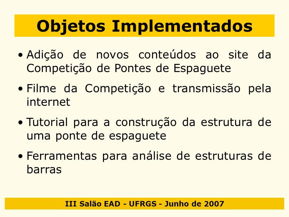III Salão EAD - UFRGS - Junho de 2007 Objetos Implementados Adição de novos conteúdos ao site da Competição de Pontes de Espaguete Filme da Competição