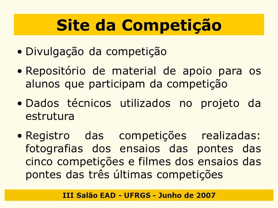 III Salão EAD - UFRGS - Junho de 2007 Site da Competição Divulgação da competição Repositório de material de apoio para os alunos que participam da co