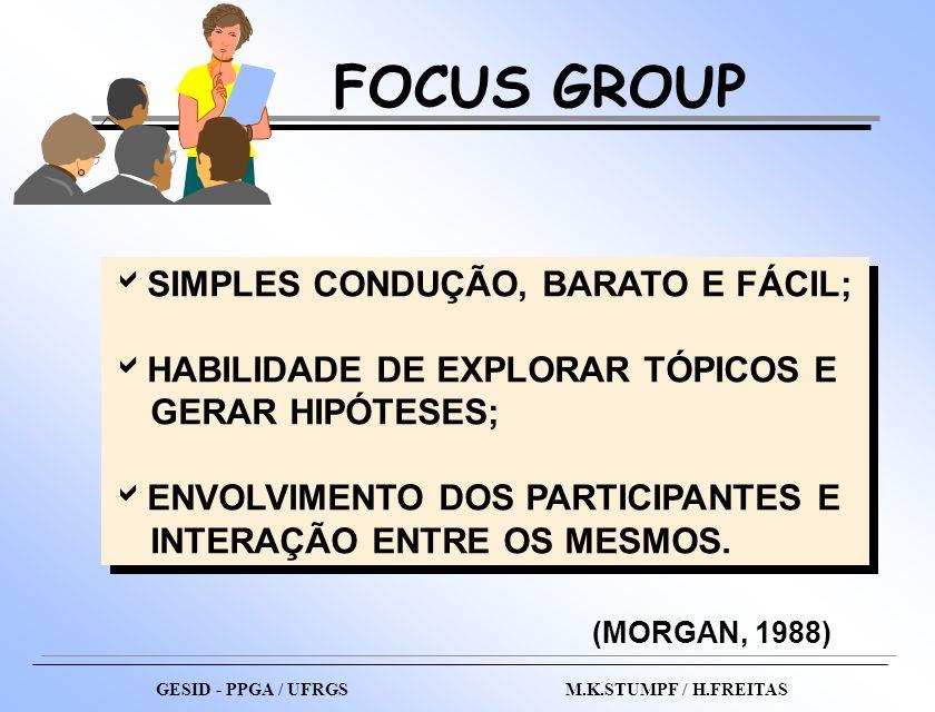 FOCUS GROUP GESID - PPGA / UFRGS M.K.STUMPF / H.FREITAS SIMPLES CONDUÇÃO, BARATO E FÁCIL; HABILIDADE DE EXPLORAR TÓPICOS E GERAR HIPÓTESES; ENVOLVIMEN
