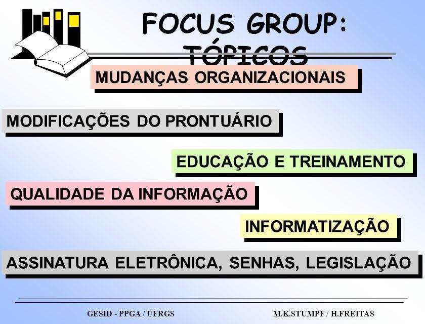 FOCUS GROUP: TÓPICOS GESID - PPGA / UFRGS M.K.STUMPF / H.FREITAS MUDANÇAS ORGANIZACIONAIS MODIFICAÇÕES DO PRONTUÁRIO EDUCAÇÃO E TREINAMENTO QUALIDADE
