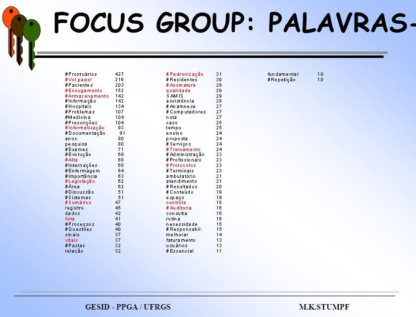 FOCUS GROUP: PALAVRAS-CHAVE GESID - PPGA / UFRGS M.K.STUMPF