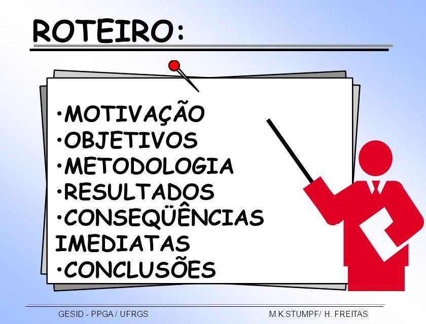 MOTIVAÇÃO OBJETIVOS METODOLOGIA RESULTADOS CONSEQÜÊNCIAS IMEDIATAS CONCLUSÕES ROTEIRO: GESID - PPGA / UFRGS M.K.STUMPF/ H. FREITAS