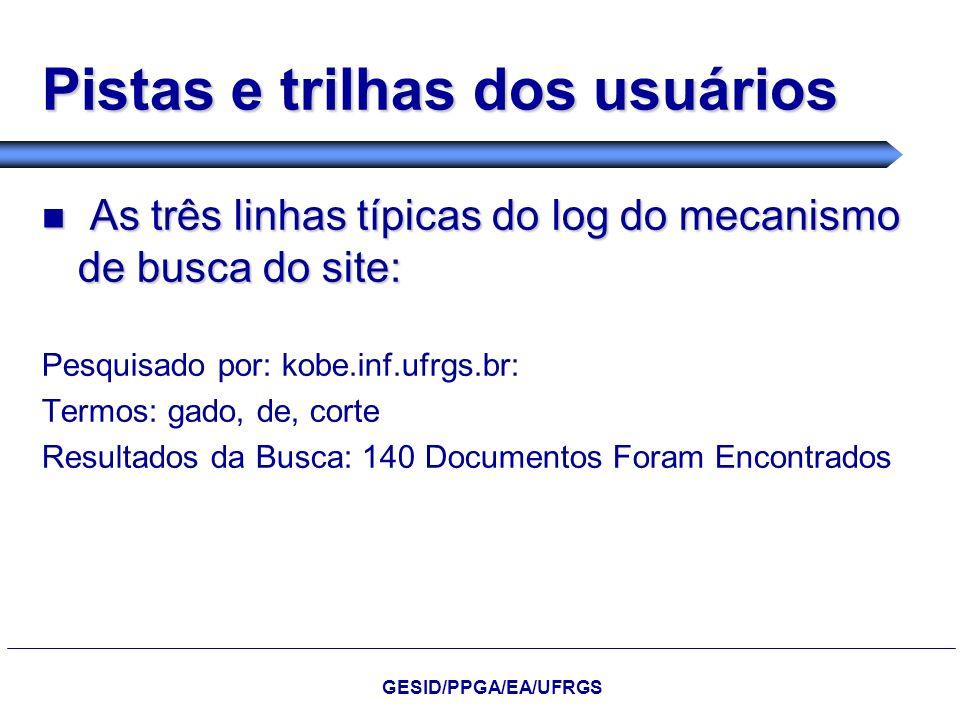 Pistas e trilhas dos usuários As três linhas típicas do log do mecanismo de busca do site: As três linhas típicas do log do mecanismo de busca do site