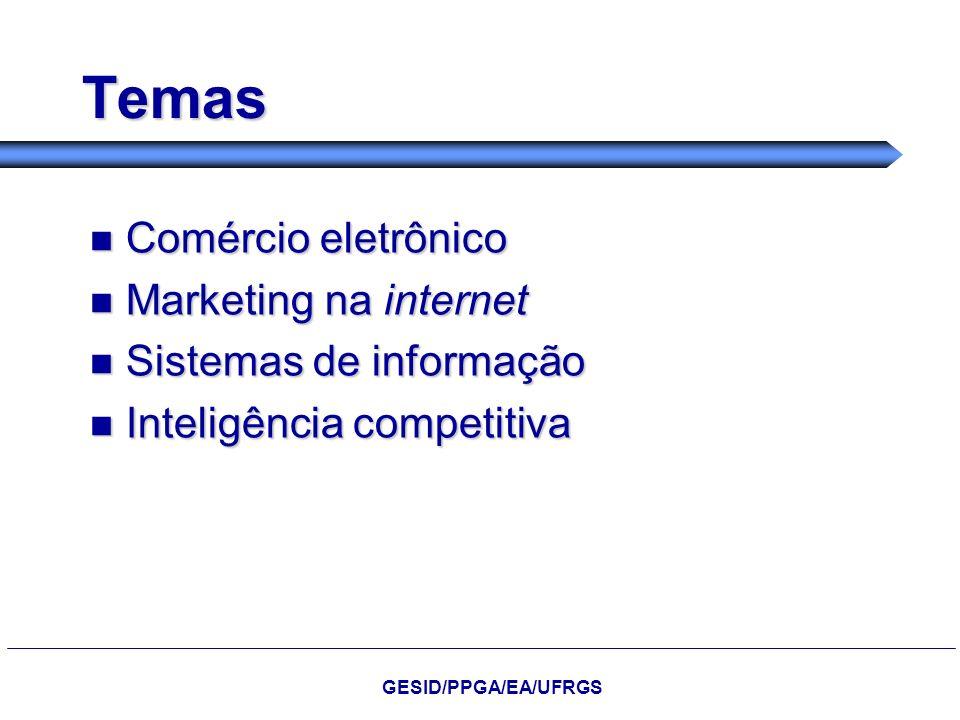 Temas Comércio eletrônico Comércio eletrônico Marketing na internet Marketing na internet Sistemas de informação Sistemas de informação Inteligência c